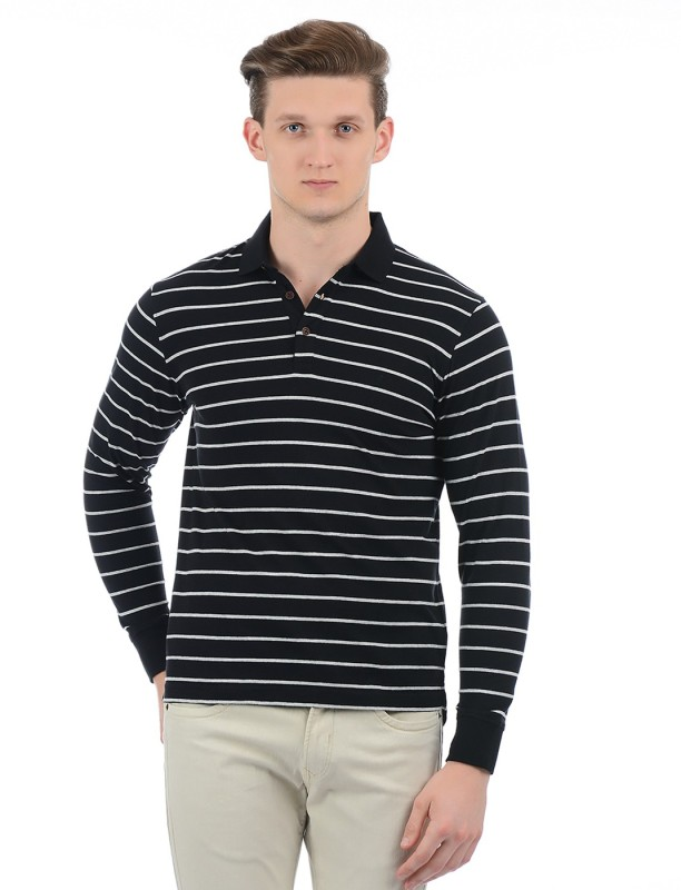 Indian Terrain Striped Men Polo Neck Black T-Shirt