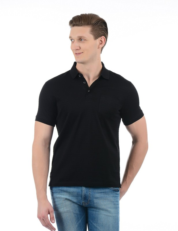 Indian Terrain Solid Men Polo Neck Black T-Shirt