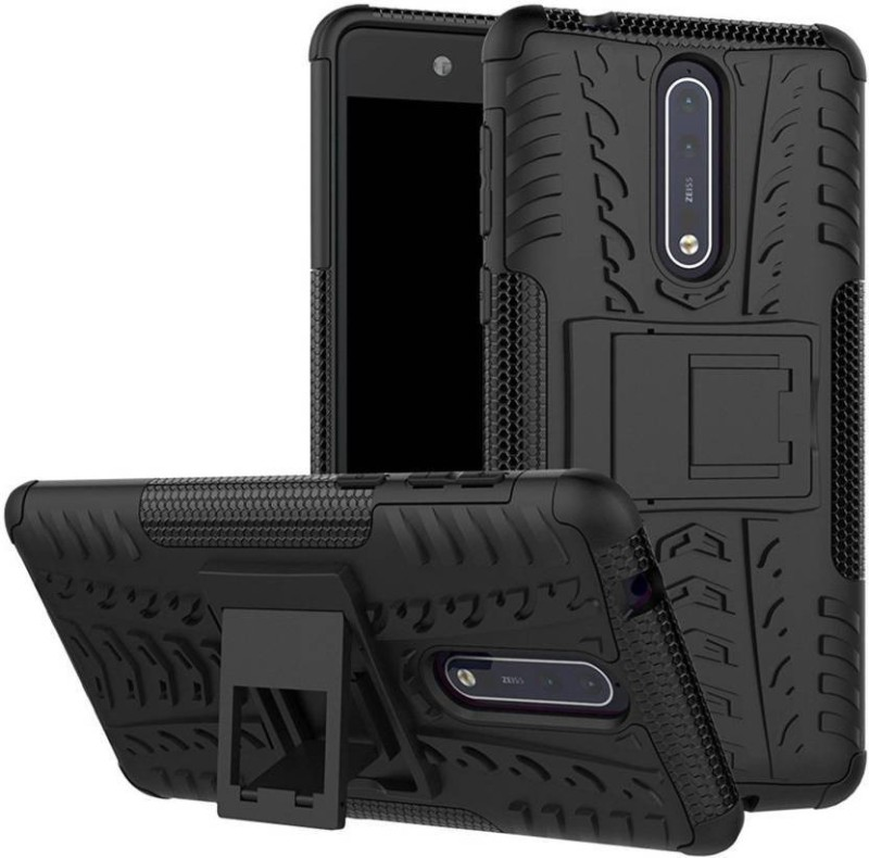 Z Z Back Cover for Nokia 8 Kickstand Cover(Black, Rugged Armor, Rubber, Plastic)