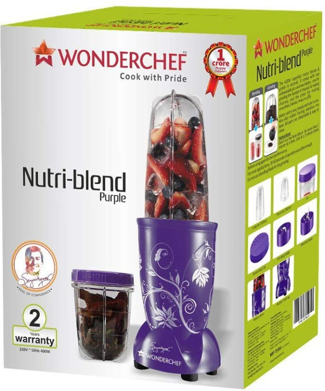 Wonderchef Present Nutri blend Purple color Comes with 2 interchangeable jars (Long Jar-500ml & Short Jar- 300ml) and 2 separate blades (Grinding Blade & Blending Blade) 400 W Juicer Mixer Grinder(Purple, 2 Jars)
