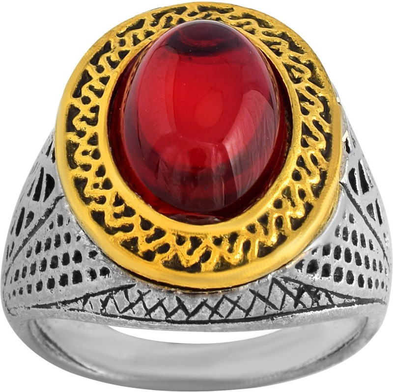 DzineTrendz Brass, Antique finish, Faux Ruby Finger ring Men Brass Silver Plated Ring