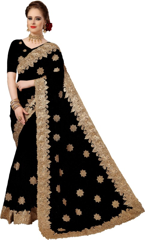 Pragati Fashion Hub Embellished Bollywood Net Saree(Black)