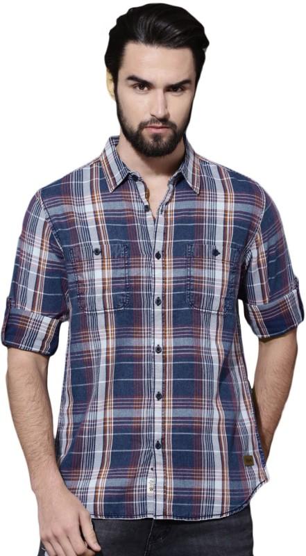 Roadster Men Checkered Casual Blue Shirt