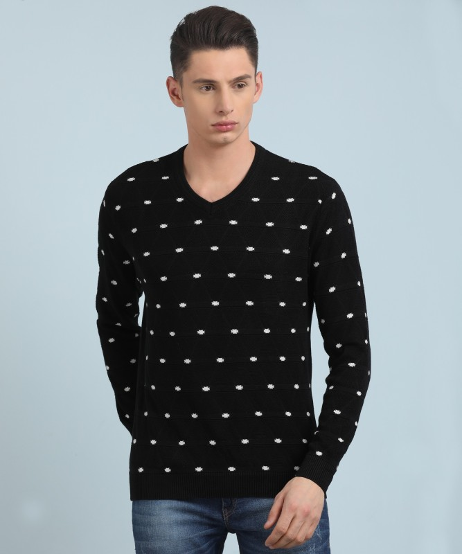 Fort Collins Self Design V-neck Casual Mens Black Sweater