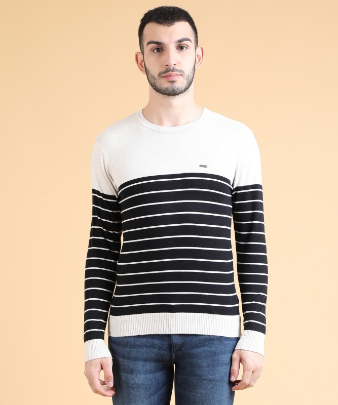 Numero Uno Solid Crew Neck Casual Mens Multicolor Sweater