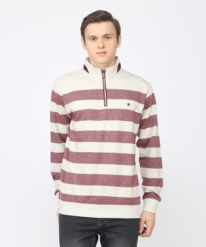 Duke Full Sleeve Striped Men Sweatshirt
