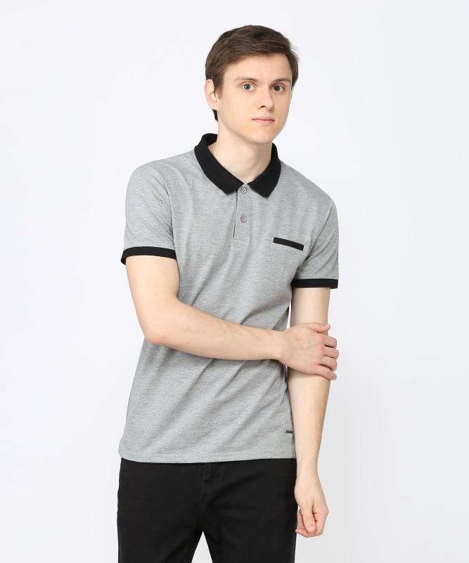 Metronaut Solid Men Polo Neck Grey T-Shirt