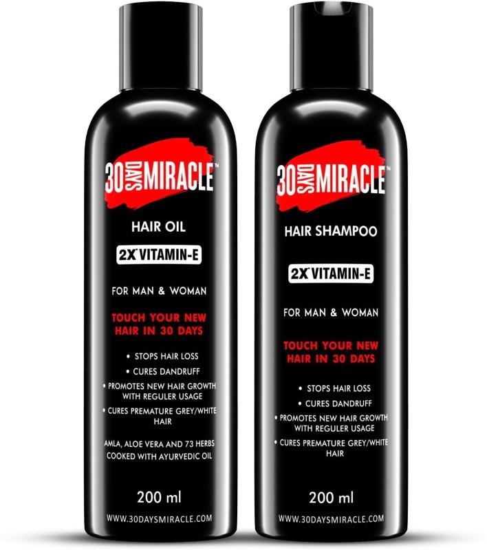 30 DAYS MIRACLE 2X Vitamin-E Hair Oil & Hair Shampoo 200ml. Anti Hair Fall | Anti Dandruff | Promotes New Hair Growth & Cures Premature Greying. For Man & Woman. Hair Oil(400 ml)