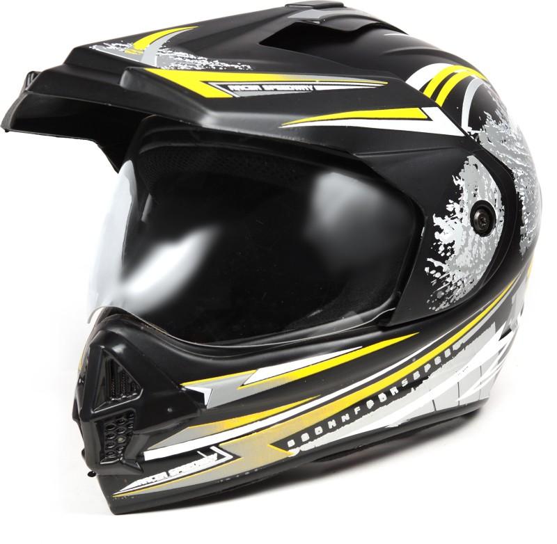 ABP Fly Racing Black With Yellow White Stripes Matte ISI MARK MOTORBIKE HELMET Motorbike Helmet(Black, Yellow, Grey)