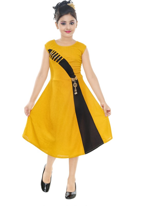 VASTRA FAB Girls Midi/Knee Length Party Dress(Yellow, Sleeveless)