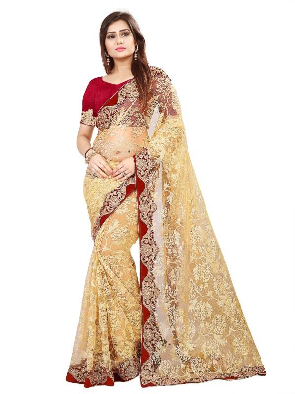 Aruna Sarees Solid, Plain, Self Design, Embellished Bollywood Net Saree(Beige)
