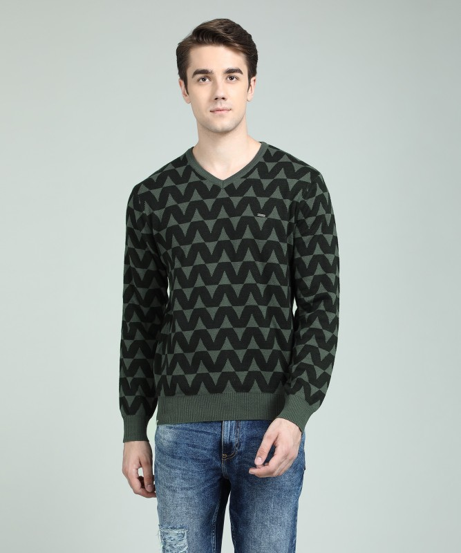 Numero Uno Self Design V-neck Casual Mens Black, Grey Sweater