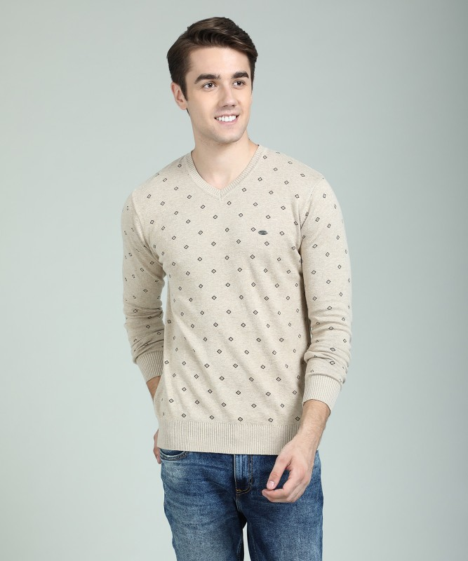 Numero Uno Printed V-neck Casual Mens Beige Sweater