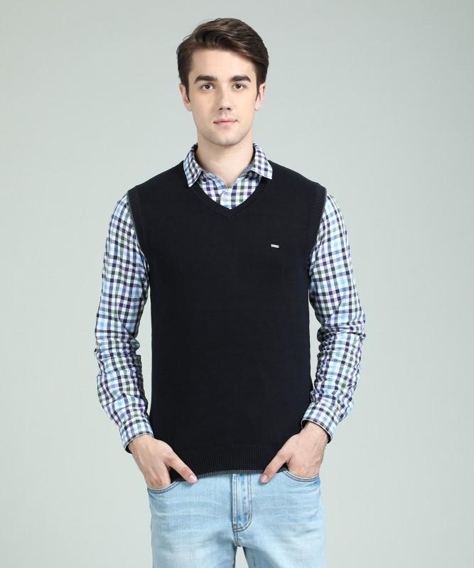 Numero Uno Solid V-neck Casual Mens Black Sweater