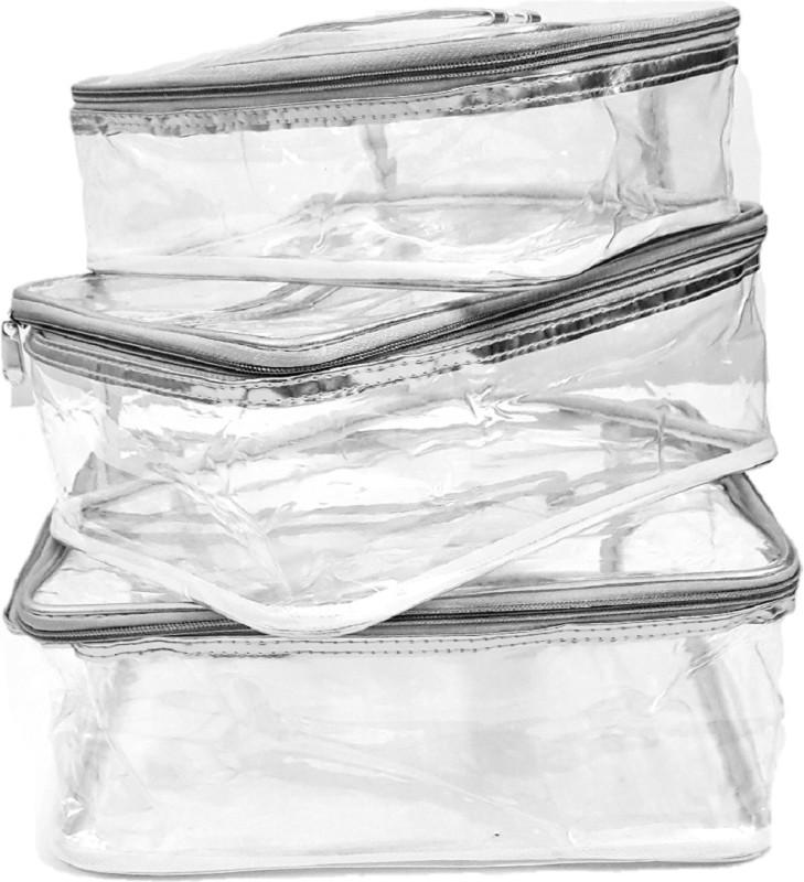 FORE TREND Transparent Multipurpose Makeup Cosmetics Bag Plain Organizer - Set of 3 (Large) Vanity Box(Silver)