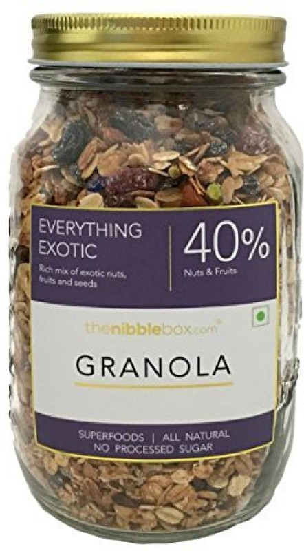 TheNibbleBox Everything Exotic Breakfast Granola Jar 500g(500 g, Glass Bottle)