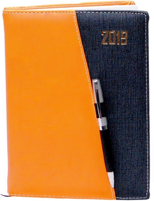 Aahum Sales B5 Diary(Executive Orange Black Color Sunday Separate Diary 2019 with Pen, Multicolor)