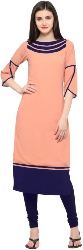 Shopping Queen Casual Solid Women Kurti(Pink)