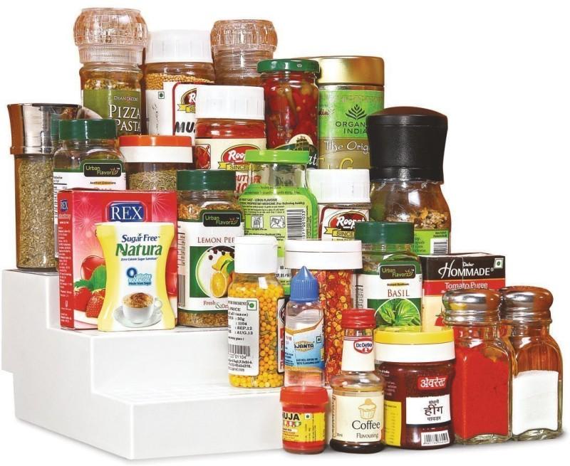 JVS Disha-94-Plastic Cupboard Space Organizer, Standard (Set of 2) Plastic Kitchen Rack(White)