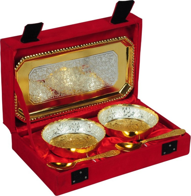 Odna Bichona Silver And Gold Plated Brass Bowl Set Pack of 5 Dinner Set(Brass)