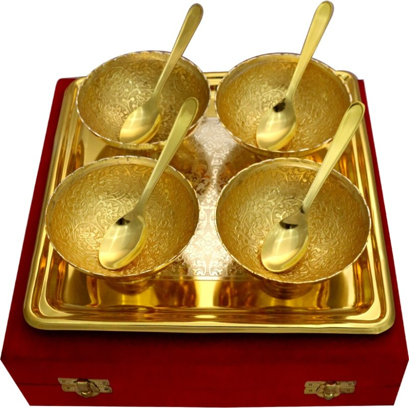 Raj Laxmi GS 2 Tone Round Shape 4 Bowl & Trey with 4 Spoons Bowl Spoon Tray Serving Set(Pack of 9)
