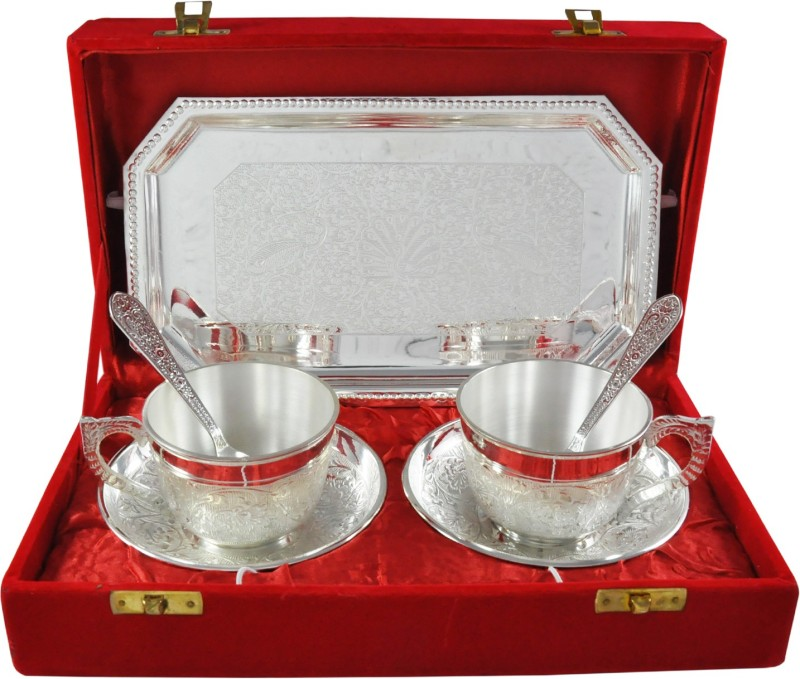Raj Laxmi RajLaxmi Silver Plated Tea Cup Set Bowl Spoon Tray Serving Set(Pack of 7)
