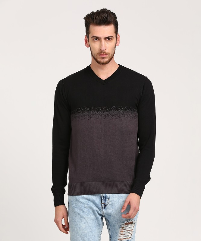 WROGN Self Design V-neck Casual Mens Black Sweater
