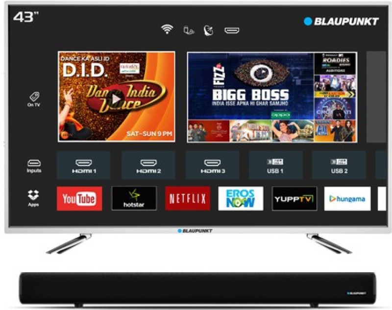 Blaupunkt 109cm (43 inch) Full HD LED Smart TV with External Soundbar(BLA43AS570)