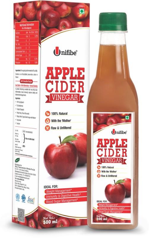 Unifibe Natural Apple Cider Vinegar with Mother of Vinegar – 500 ml | Raw, Unfiltered & Unpasteurized Vinegar(500 ml)