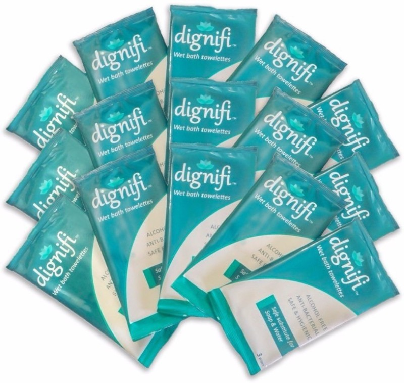 Dignifi Bath Wipes With Aloe Vera & Olive Oil 45 large wipes For Bath For Bedridden Patients(Pack of 45)