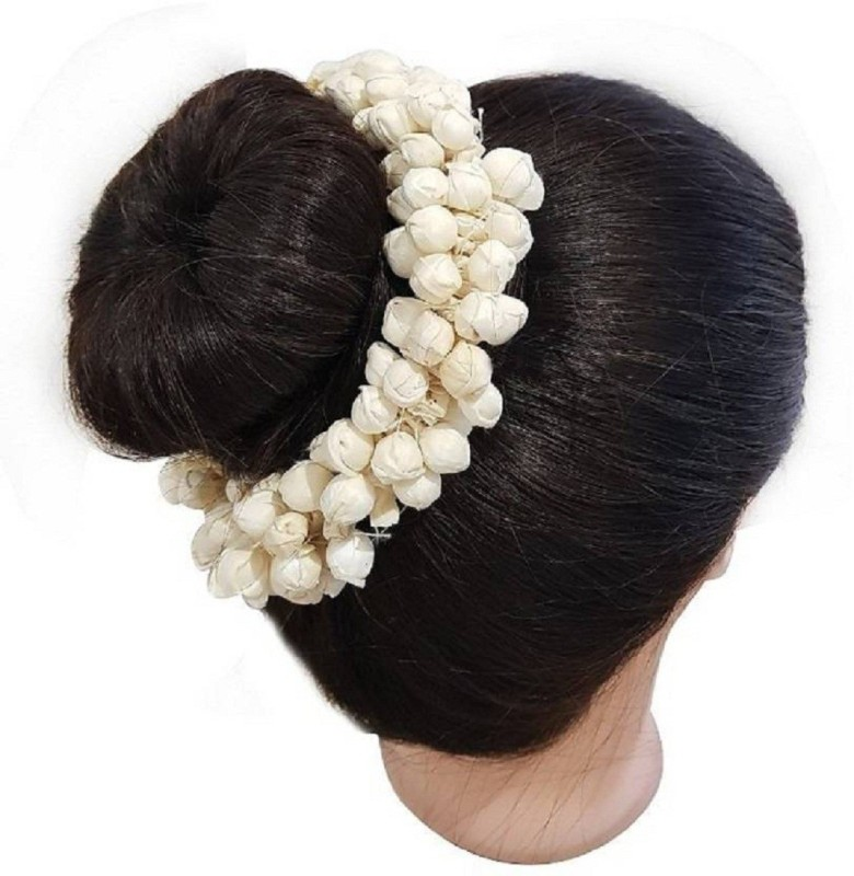 AASA Artificial Hair Gajra For Hair Accessories, White Hair Clip (White) Bun(White)
