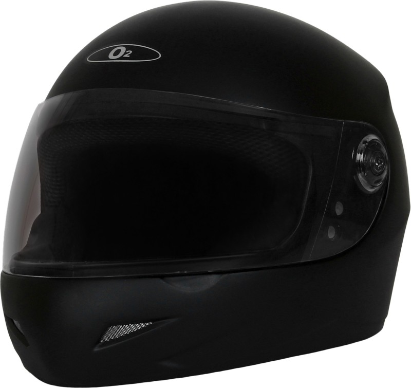 O2 Series Matte Black Plain With Tinted Poly Carbonate Visor Motorbike Helmet(Matte Black)