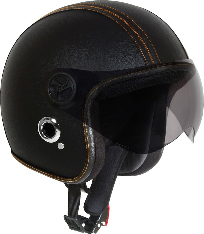 O2 Leather Black With Poly Carbonate Tinted Visor Motorbike Helmet(Black)