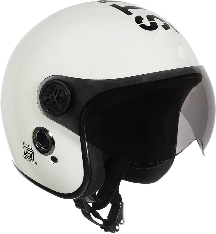 O2 OPEN FACE WHITE WITH TINTED POLY CARBONATE VISOR Motorbike Helmet(White)