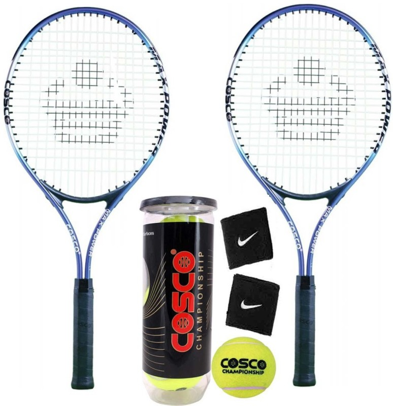 Cosco Max Power Tennis Racquet ( Pack of 2 ) With Tennis Ball