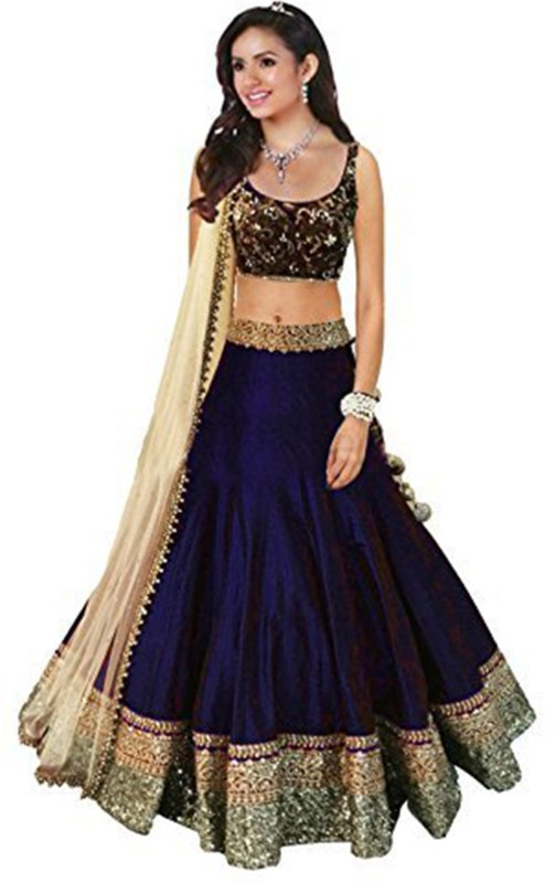 Florence Embroidered Semi Stitched Lehenga, Choli and Dupatta Set(Blue)