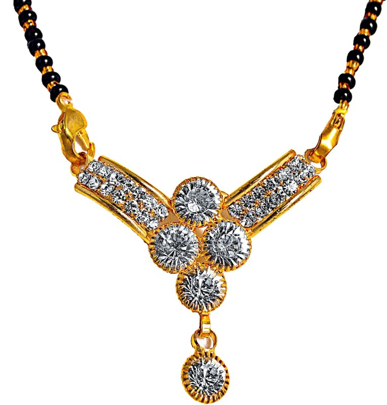manomay jewellers Gold Plated Mangalsutra studded with American diamonds For Women Alloy, Zinc Mangalsutra