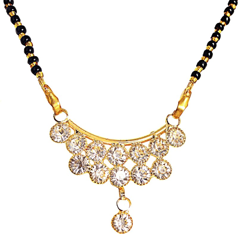 manomay jewellers Gold Plated with studded American diamonds Mangalsutra For Women Alloy, Zinc Mangalsutra