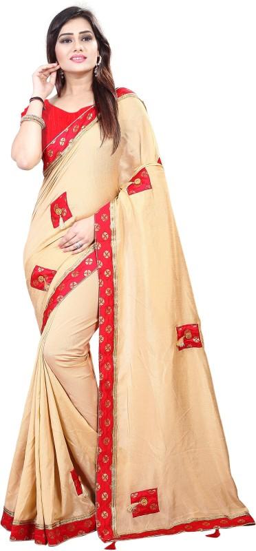 Aruna Sarees Solid, Geometric Print, Embellished Fashion Handloom Cotton Silk Saree(Beige)
