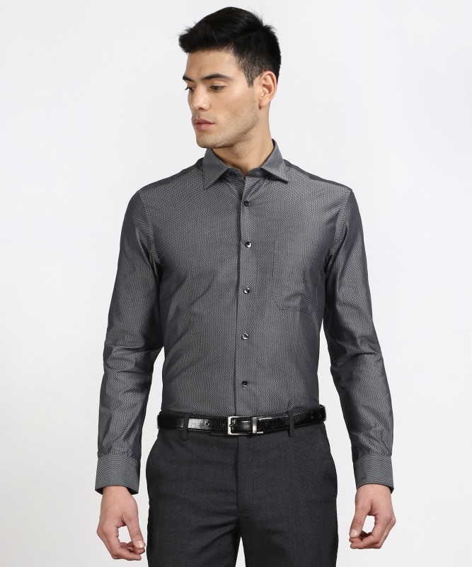 Louis Philippe Men's Self Design Formal Black Shirt