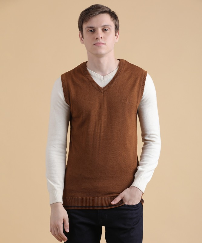 Van Heusen Solid V-neck Formal Men's Brown Sweater