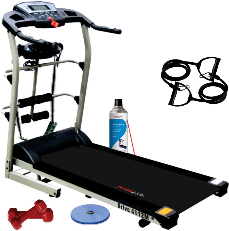 Healthgenie 7in1 Motorized Treadmill 4112M with Massager, Sit-ups, Tummy Twister, Dumbbells, Resistant Tubes & Silicone Lubricant 550ml, Max Speed 14 Kmph. Treadmill