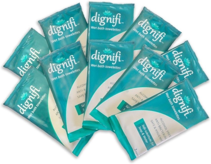 dignifi Wipes with Aloe Vera & Olive Oil for complete bath for bedridden patients.(pack contains 30 wipes in 10 individually sealed packs containing 3 wipes each)(Pack of 30)
