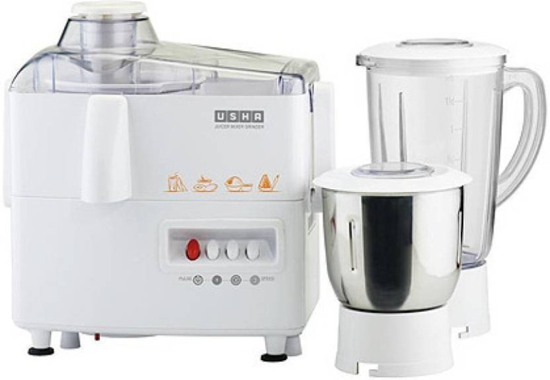 Usha 3345 450 W Juicer Mixer Grinder(White, 2 Jars)