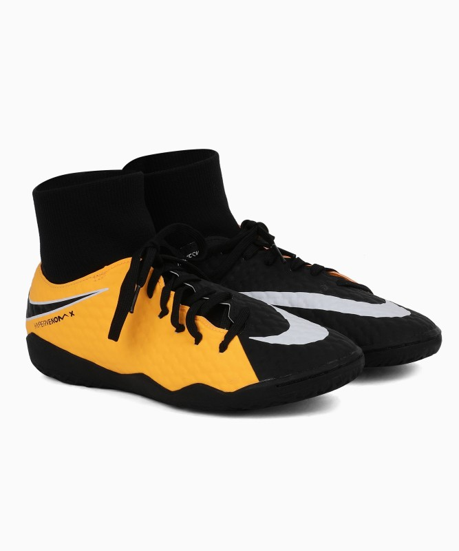 Nike HYPERVENOMX PHELON 3 DF IC Football Shoes For Men(Black, Yellow)