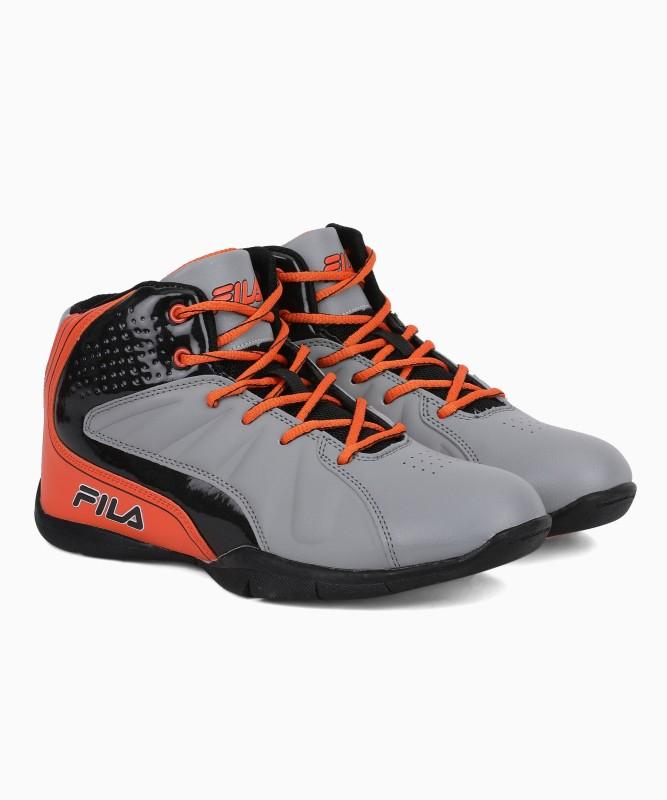 Fila Basketball Shoes For Men(Grey, Orange)