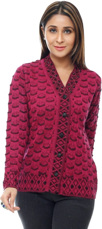 MODEVE Embroidered V-neck Casual Women Pink Sweater