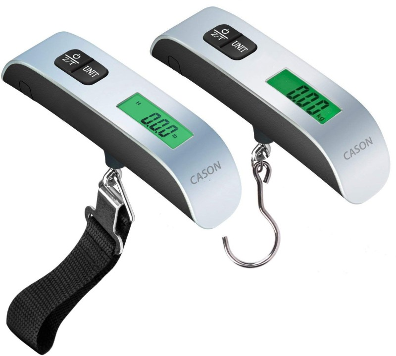 CASON Pack Of 2-10g/50 Kg Luggage Scale Digital Portable Travel Bag Weight Checker with Temp Hanging Weight Scale with Belt & Pin Weighing Scale(Silver)
