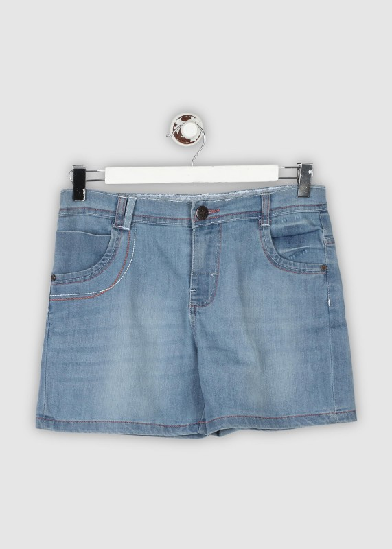 612 League Short For Girls Casual Solid Denim(Blue, Pack of 1)