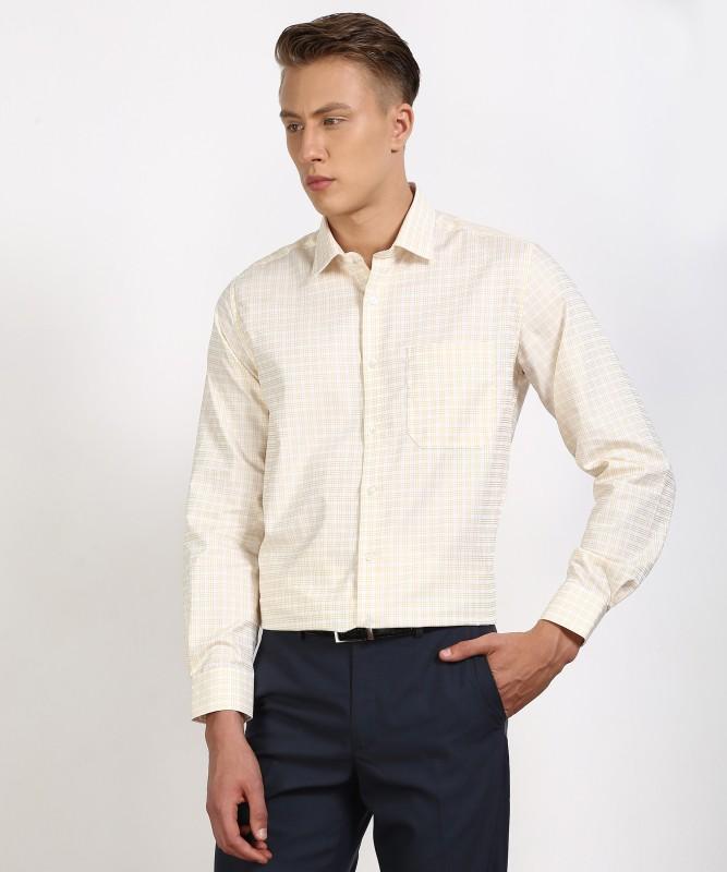 Louis Philippe Mens Checkered Formal Yellow, White Shirt